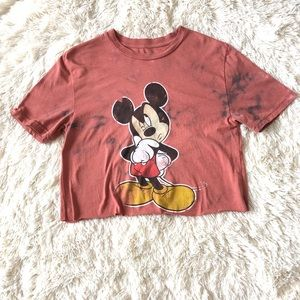 Mickey Mouse Bleach Tie-Dye Crop Top - Girls 14